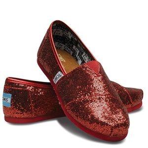78741b14514 Women s Red Glitter Toms on Poshmark